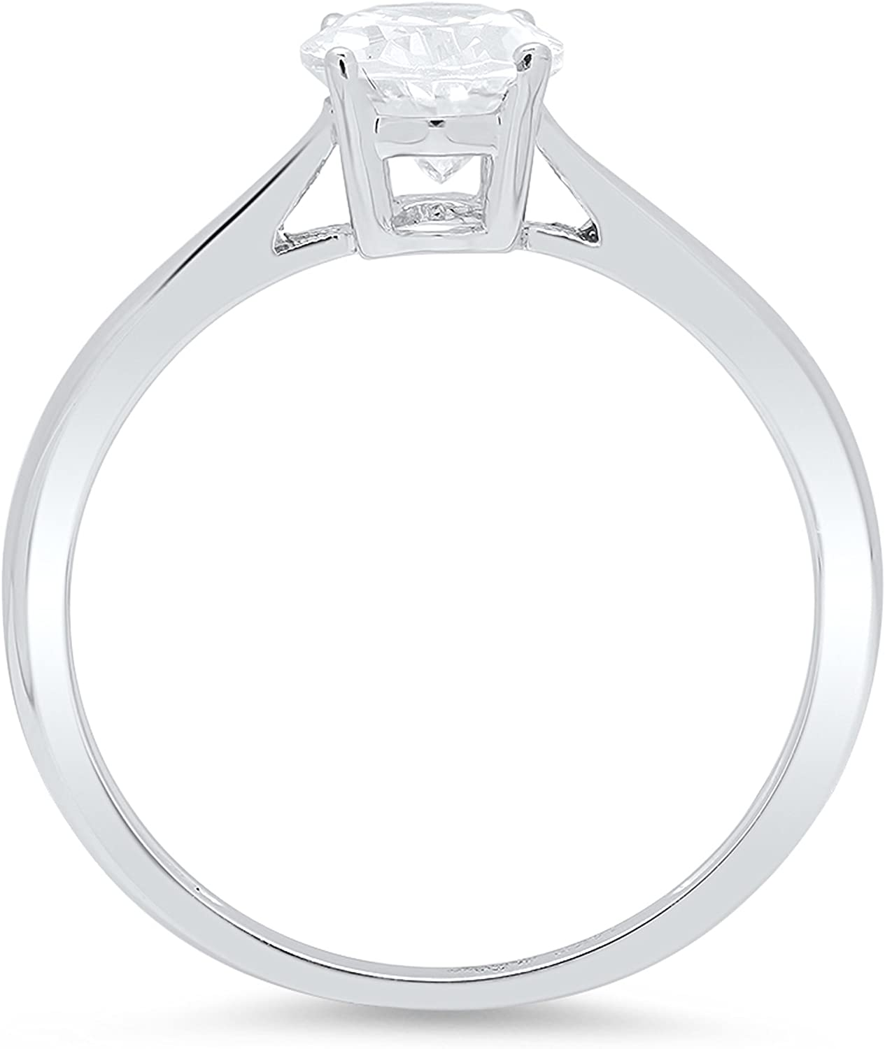 1.10 ct Brilliant Oval Cut Statement Classic Designer Solitaire Anniversary Engagement Wedding Bridal Promise Ring in Solid 14k White Gold