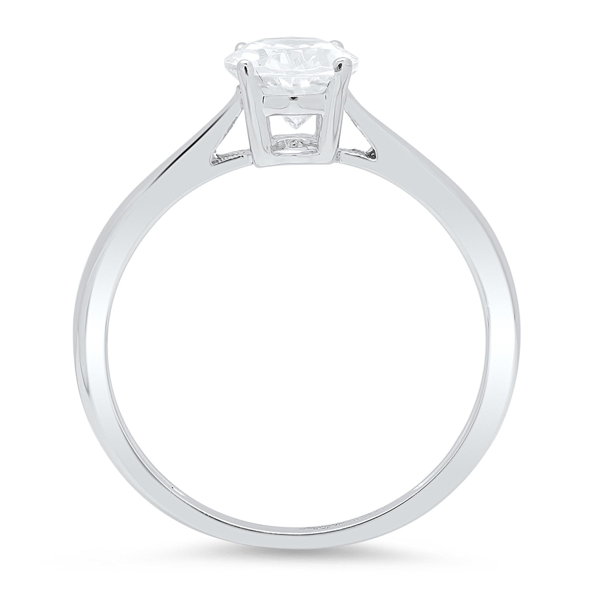 Clara Pucci Brilliant Oval Cut Solitaire Engagement Wedding Promise Bridal Ring in Solid 14k White Gold, 0.85CT, Size 10 by Clara Pucci (Image #2)