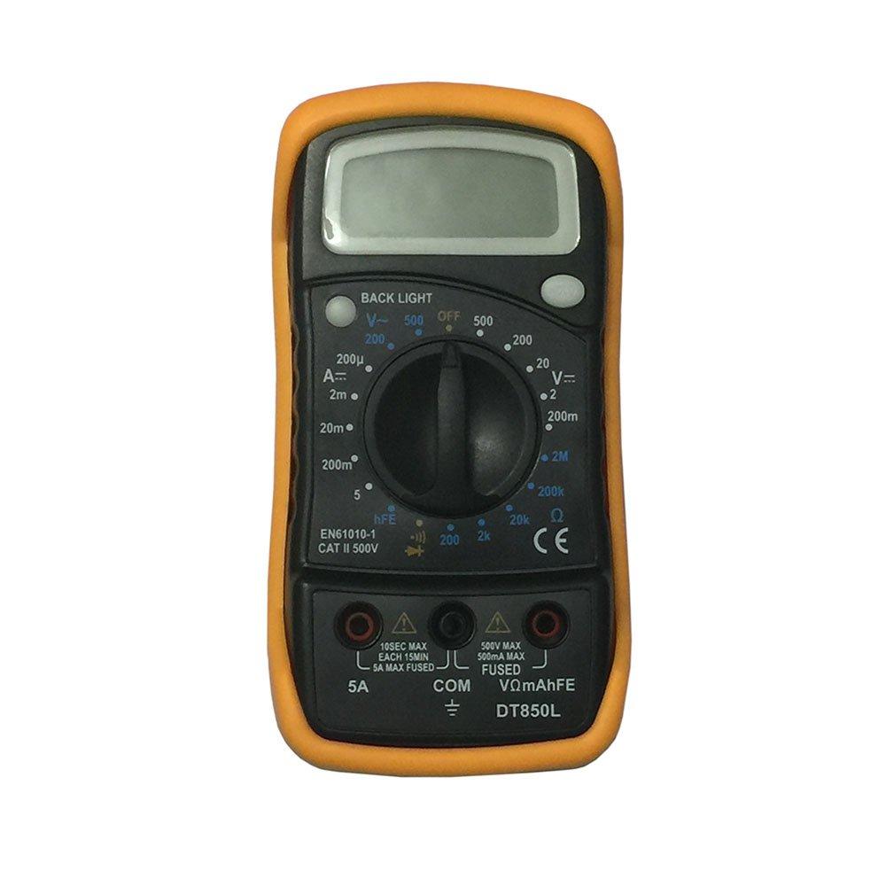 DT850L LCD Handheld Digital Multimeter for Home and Car - Black + Orange
