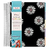 Erin Condren 2018-2019 12 Month LifePlanner, Daisies(Black)-Horizontal (Colorful Layout) July-June