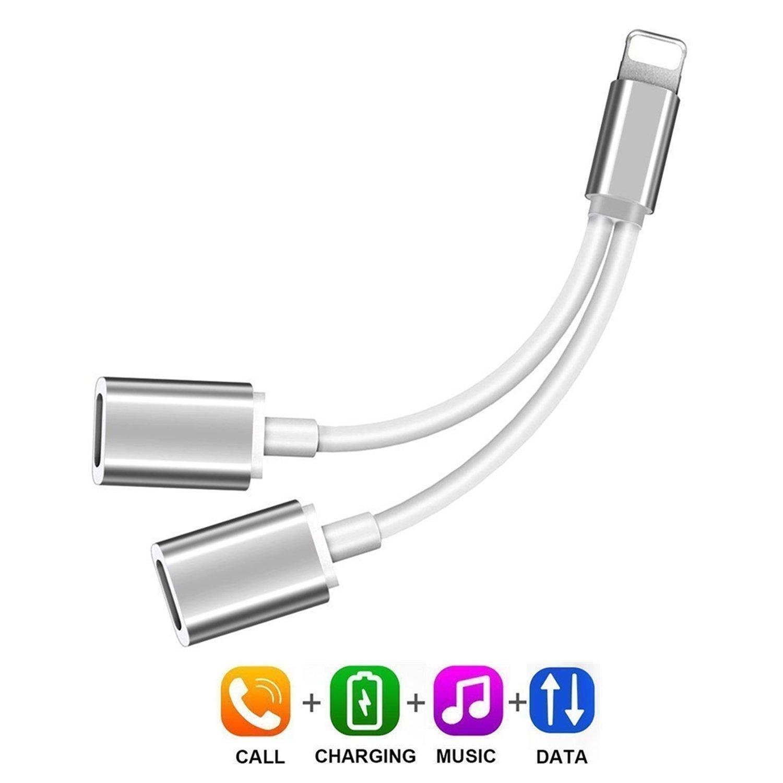 ライティングスプリッターアダプタ 2イン1 デュアルライティングヘッドホンオーディオと充電アダプター 対応電話7/8 / X/XS/XR/XS MAX (iOS 11、iOS 12ホワイトに対応)  Splitter-silver B07P9PFZNC