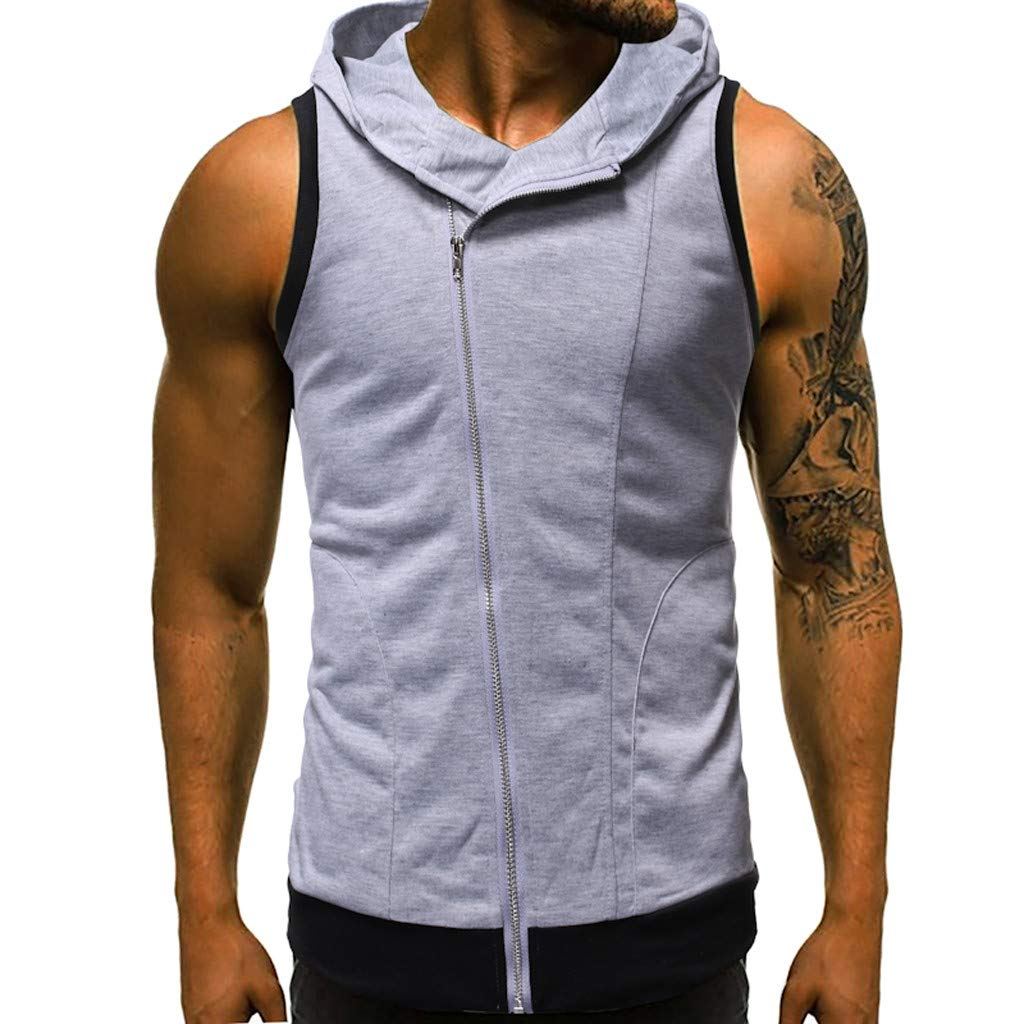 Men's Summer Sleeveless Hoodie Zip-up Vests Sleeveless T-Shirt Top Bodybuilding Active Shirts Hooded Gray
