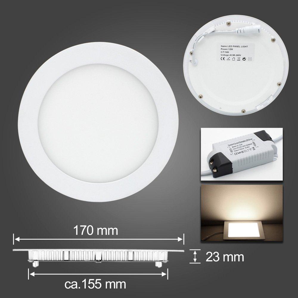 BAODE 12W Neutralweiß LED Panel Panel Panel Leuchte Dimmbar Deckenlampe Rund Ultraslim Einbaustrahler 3000K Ø170mm(10er Pack) 60dcce