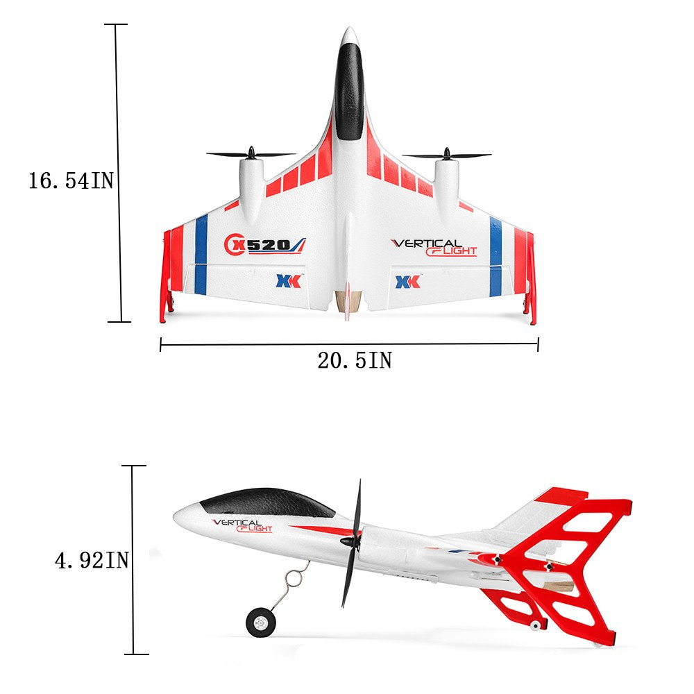 COLOR-LILIJ RC Remote Control Airplane - XK X520 2.4G 6CH - 2 pcs Powerful 1307 Brushless Motor, 3D/6G System RC Airplane EPP Anti-Crash, - -3D / 6G Mode - Easy to Fly for Even Beginners(US Stock) by COLOR-LILIJ (Image #6)