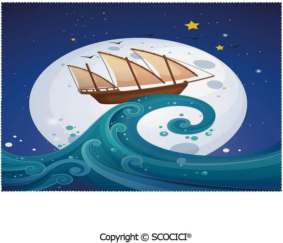 SCOCICI Placemats for Dining Table Stain-Resistant Old Ship with Tempest Riding The Waves Full Moon and Stars Marine Cartoon Style Decorative Ultra-Durable Heat-Resistant Dining Mat