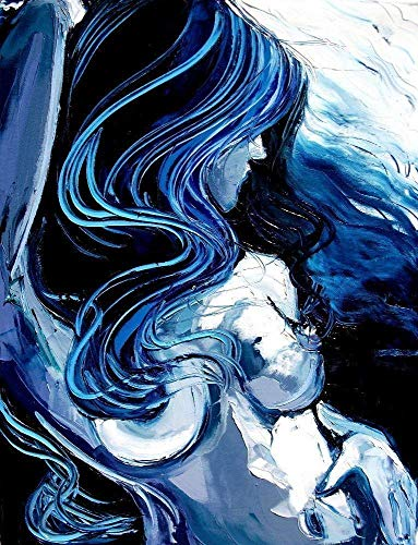 Blue Abstract Nude Art Print Female Figure Tumultuous Art by Aja choose size and type of paper