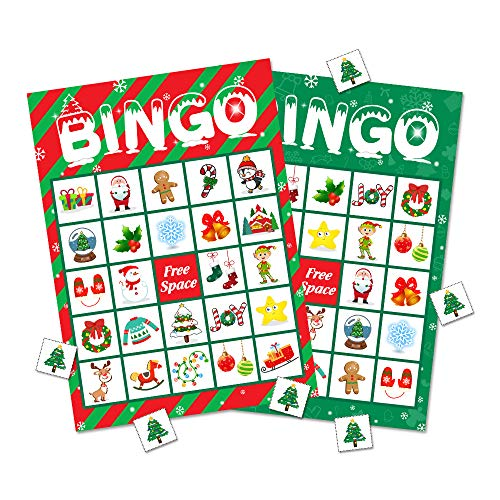 Christmas Bingo Game Party Supplies - Xmas Gifts for Kids 32 Players (Parties Class For Christmas Games)