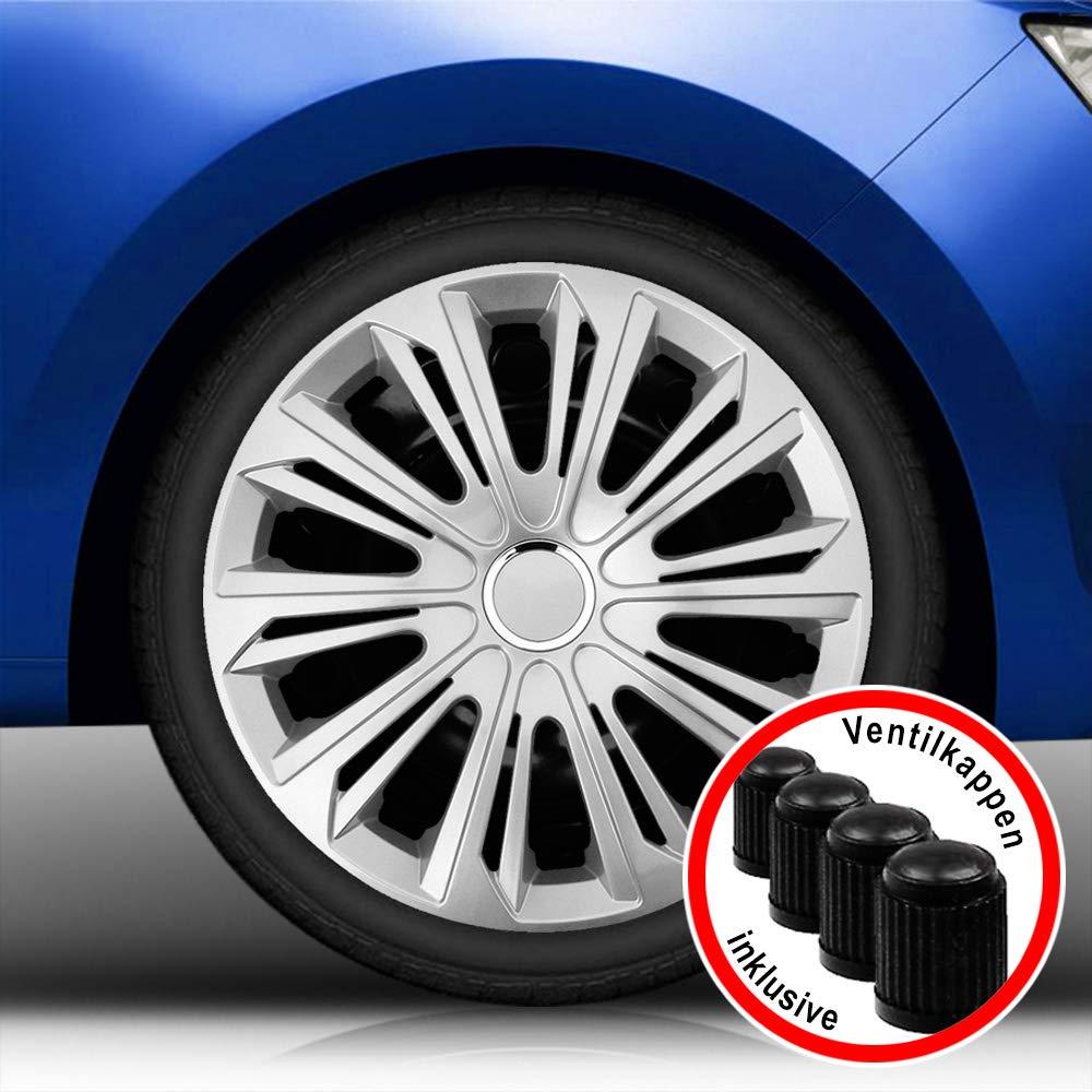 passend f/ür Fast alle Fahrzeugtypen universal Autoteppich Stylers Aktion Bundle 14 Zoll Radkappen//Radzierblenden vom RADKAPPEN K/ÖNIG 006 Farbe Schwarz-Blau