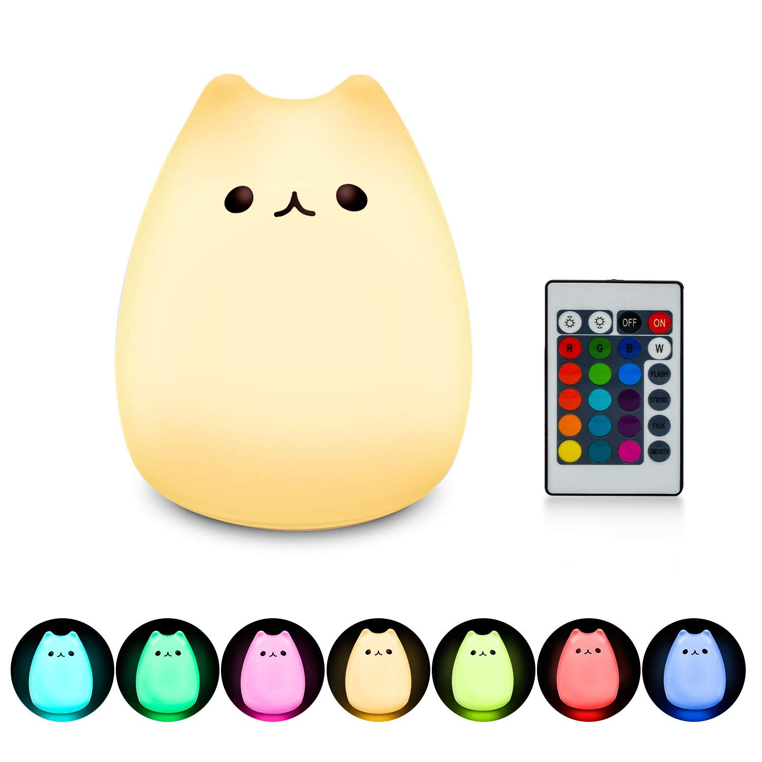 Mystery Cat Night Light, Kids Toy Nightlight with Remote Control, Soft Silicone LED Baby Nursery Sleep Relaxing Tap Lamps, Decorative Desk Lamp for Bedroom