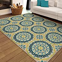 Patio Indoor/Outdoor Rectangular Latex Free Medallion Rising Sun Blue Area Rug Floral Pattern (5 Ft 2 In X 7 Ft 6 In). Stain Resistant and Made With Ivory, Light Blue, Dark Blue and Lime Green.