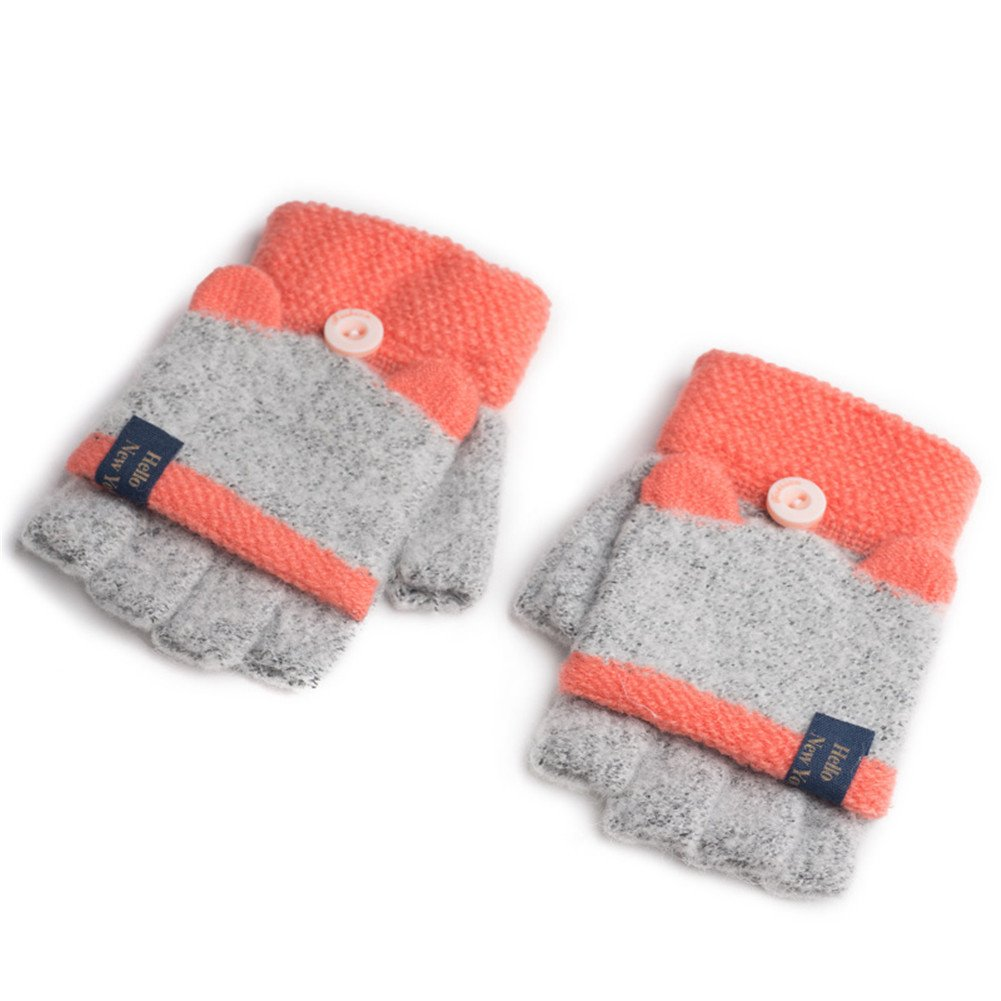 Vimeet Baby Gestrickte Fingerlose Fäustlinge Handschuhe Fausthandschuhe Winterhandschuhe Mitten Strickhandschuhe mit Flip Top