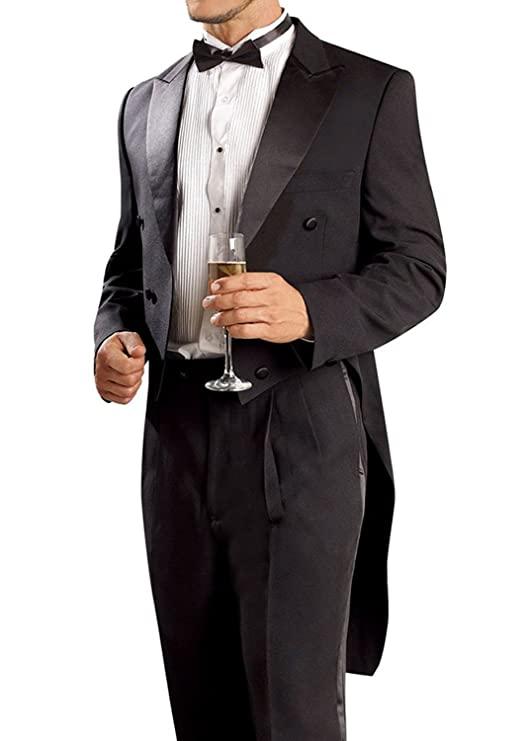 JY Men's Black Tuxedo Groom Tailcoat Suit 2 Piece Formal Tuxedo Tails Suit