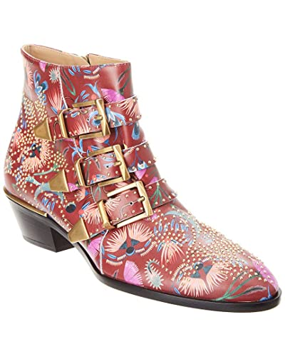 63e1e500f9145 Image Unavailable. Image not available for. Color  Chloe Susanna Floral Studded  Leather Ankle Boot ...