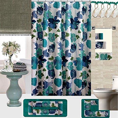 18 Piece Geometric,Floral Designs Banded Shower Curtain Bath Set,1,Bath Rug,1 Contour Rug 1, shower curtain 12 Metal Crystal Roller Ball Shower Hooks 3 Pcs Matching towel set! (Amanda) by BH Home & Linen (Image #1)
