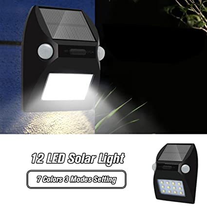 OWSOO Lámparas Solares 12 LED con Amplio Área de Iluminación Sensor de Movimiento Impermeable 7 Colores