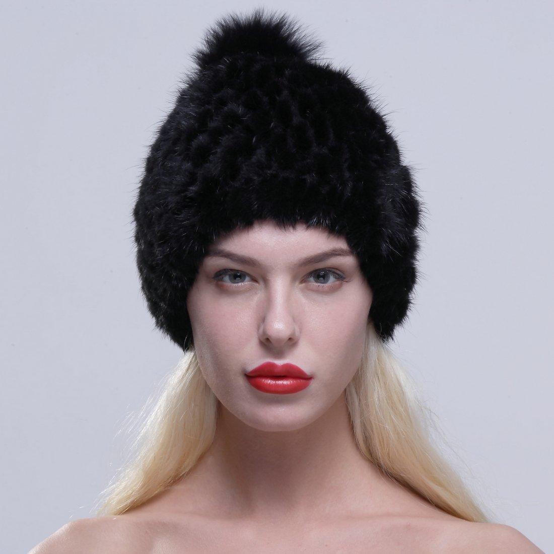 2820623b03cfc URSFUR Women Winter Hat Knit Mink Fur Beanie Cap with Fox Pom Pom Black at  Amazon Women s Clothing store
