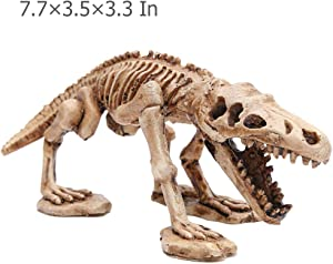 kathson Aquarium Ornament, Resin Dinosaur Skeleton Landscaping Decoration Artificial Dinosaur Skeleton Ornament for Fish Tank Aquarium Desktop Ornament