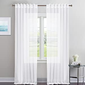 NICETOWN White Sheer Curtains Voile Draperies - Rod Pocket & Back Tab Sheer Window Treatment Voile Curtain Panels Patio Door Window Covering for Living Room (1 Pair, 54 Wide x 84 inch Long)