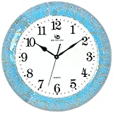 Jedfild The living room ideas personalized wall clock mute home decor clock, Blue Gold