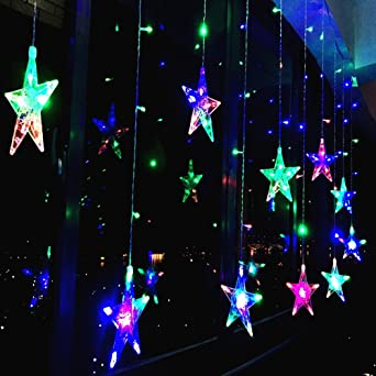 138 LED Vorhang Lichterkette,KINGCOO 2m 12 Sterne Batteriebetriebene ...