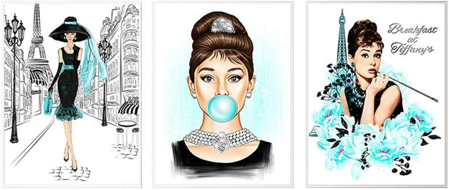 Famous Star Posters and Prints Audrey Hepburn Bubble Gum Paris Fashion Wall Art Poster Modern Art Wall Pictures Woman Home Decor (40x60cmx3/no Frame)