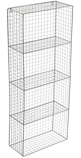 Industrial Wire Shelving   Industrial Wall Wire Shelves Tall 4 Shelf Unit Amazon Co Uk