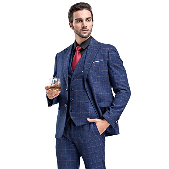 WEEN CHARM Mens Plaid One Button 3-Piece Suit Wedding Party Slim Fit ...