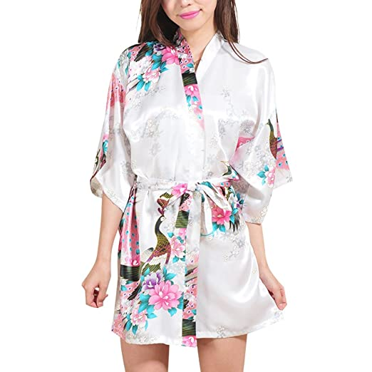 10119f3df FAYBOX Bridesmaid Peacock Short Kimono Robe Wedding Satin Silk Sleepwear  White M