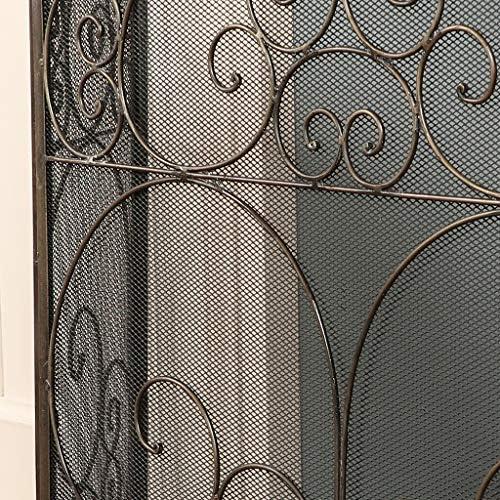 Latón envejecido diseño de tela de 3 Panel – Rejilla protectora de chimenea con protección de malla (Z154 _ FBA) – perfecto para Spark Protección contra su leña o carbón chimeneas –
