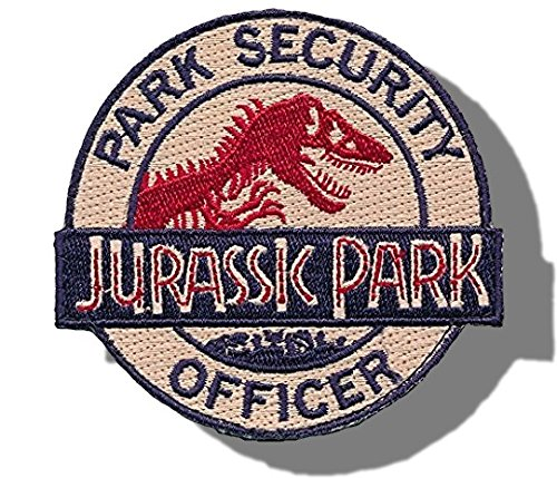 "[Single Count] Custom and Unique (4'' x 3'' Inch) Round ""Emblem"" ''Jurassic Park'' Park Security Officer Ranger Costume Prop Embroidered Applique Patch {Blue, Red, & Tan Colors} [Licensed] by mySimple Products"