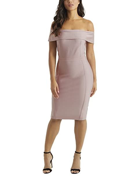 Lipsy Mujer Vestido Entallado Con Escote Bardot Rosa 46  Amazon.es  Ropa y  accesorios 2236d04060a0