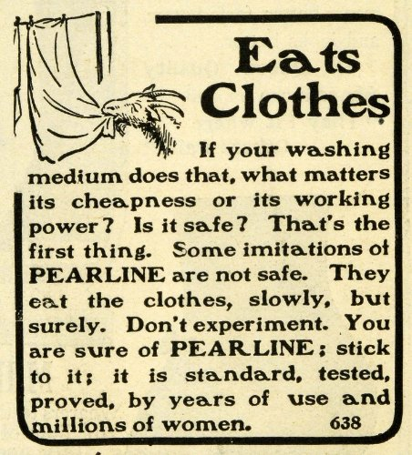 1901 Ad Goat Eating Clothes Line Pearline Laundry Soap Detergent Household Chore - Original Print Ad from PeriodPaper LLC-Collectible Original Print Archive