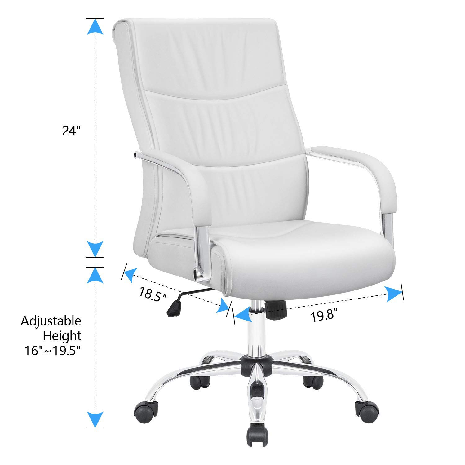 Furmax High Back Office Desk Chair Conference Leather Executive with Padded Armrests,Adjustable Ergonomic Swivel Task Chair with Lumbar Support(White) by Furmax (Image #7)