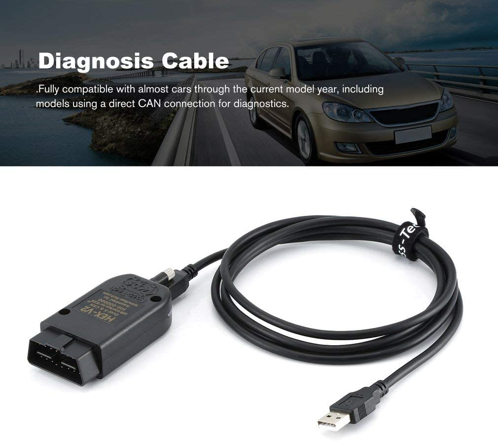 c/âble de Voiture Feketden Katherinabait VCDS Hex-V2 18.9 Peut /être utilis/é sur linterface USB de la Voiture C/âble de Diagnostic de Panne