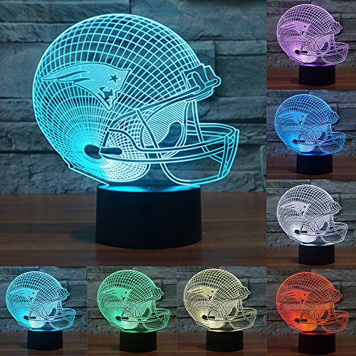 Football Cap Team Logo 3D Lamp Table NightLight 7 Color Change Football LED Desk Light Touch Multicolored USB Power As Home Decoration Lights Tractor for Boys Kids (Touch) (New England Patriots)