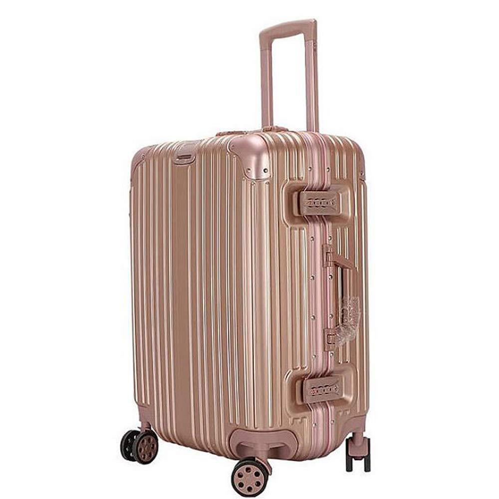 スーツケーストロリーケースユニバーサルホイールトラベルボックス学生スーツケース。 軽量Absスーツケース4スピナーホイール 37*24*59cm B07T975P74 Rose gold