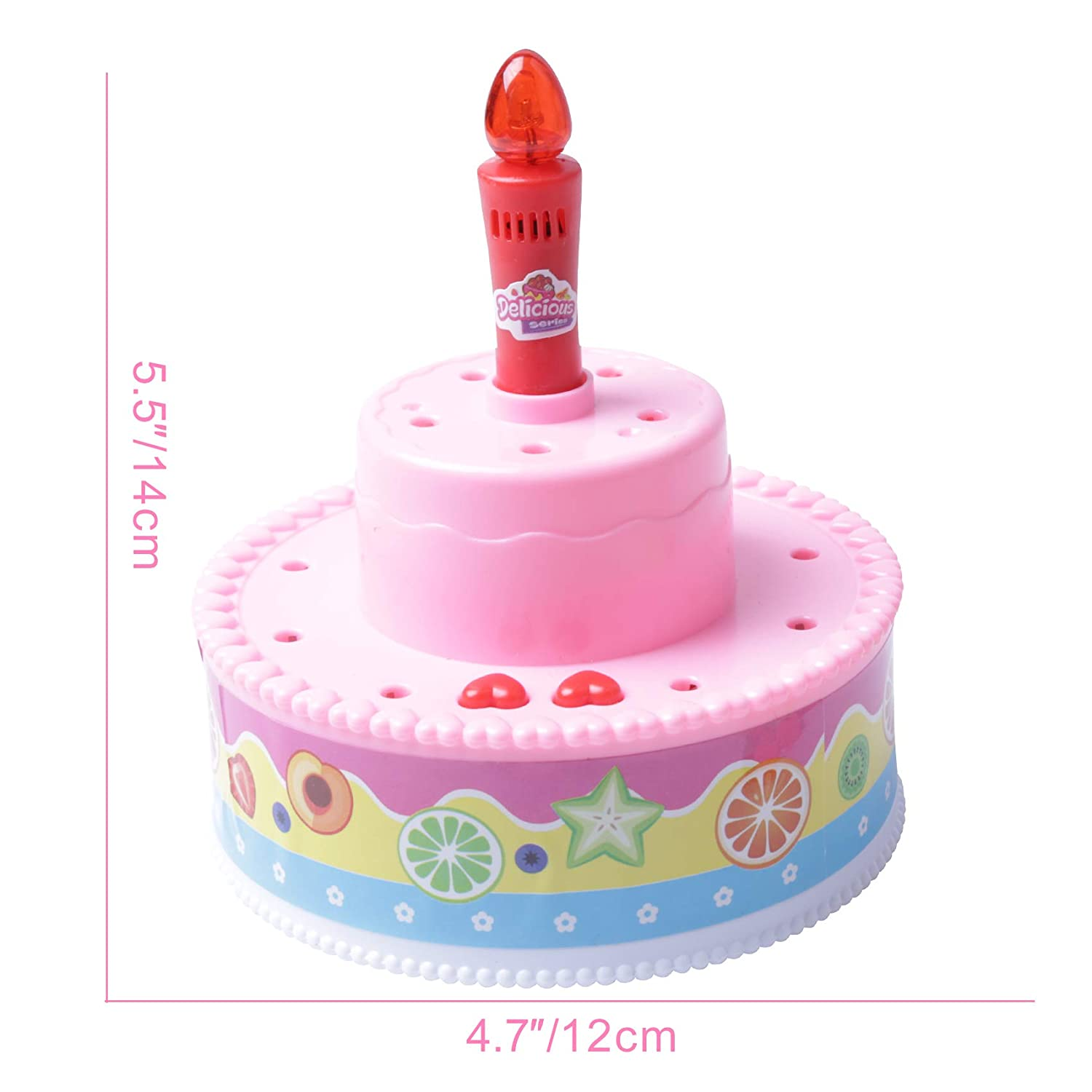 Record and Playback 4.6 Musical Birthday Cake Toy with Light Up Candle and Birthday Song Blow Out Candle with Applause Sound Pretend Play for Kids Pink