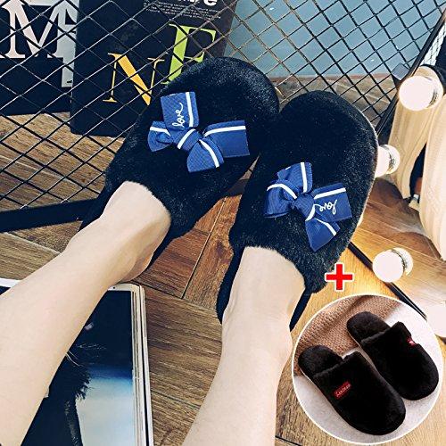 LaxBa Femmes Hommes chauds d'hiver Chaussons peluche antiglisse intérieur Cotton-Padded ShoesFemale Slipper noir + noir mâle femelle mâle40-70 + 42-43
