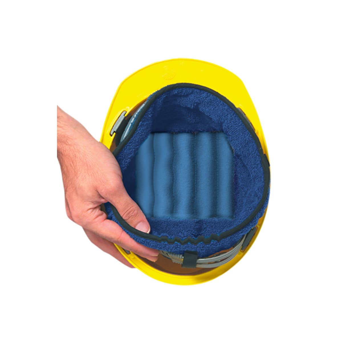 1EA-MiraCool Navy Blue Terry Hard Hat Liner for suspension, One Size, #919 - BLUE by Occunomix (Image #1)