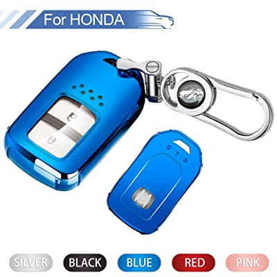 Key Fob Cover for Honda,Soft TPU Key Fob Case All-Around Protector Plating Shell Fit Keyless Smart Remote Key of Honda Accord Civic CRV Pilot Odyssey Fit HRV Clarity CRZ Ridgeline EX EX-L - Blue: Automotive
