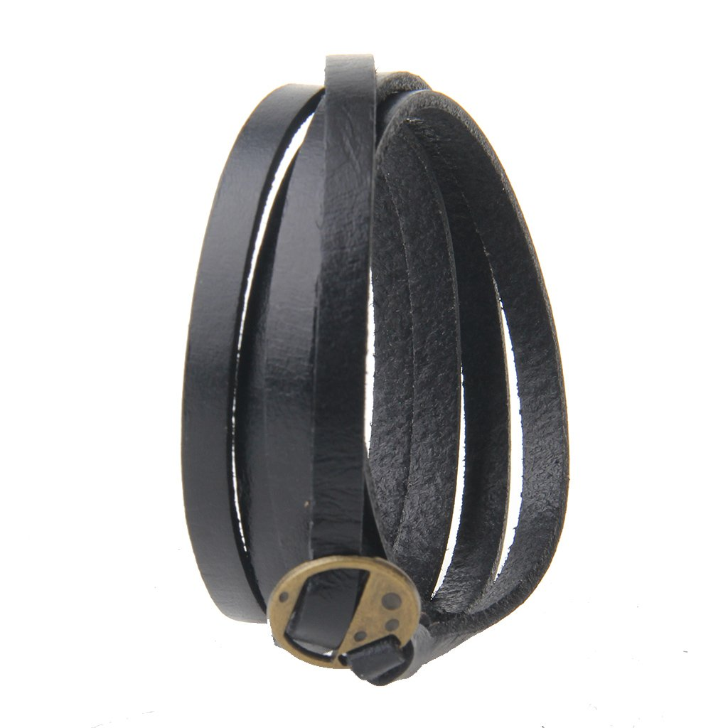 Jenia Adjustable Genuine Leather Bracelet Wrap Cuff Multilayer Wristband for Women and Men by Jenia (Image #3)