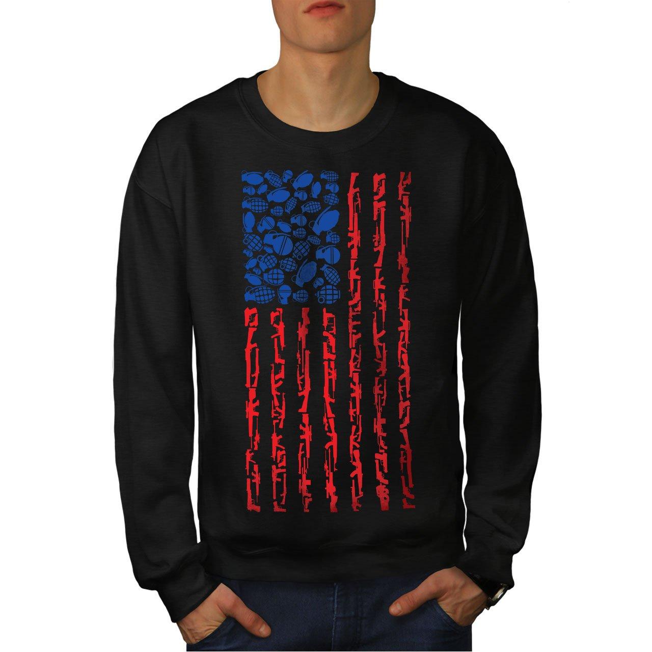 wellcoda America Flag Grenade USA Mens Sweatshirt Casual Jumper