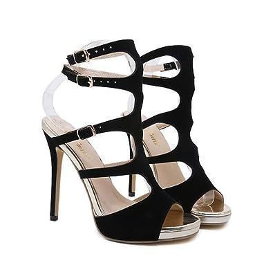 0a10d599b396e Rose town Women High Heels Sandals Sexy Strappy Stilettos Pumps Open Toe Dress  Shoes(Black
