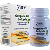 Zane Hellas Oregano Oil Softgels. The Highest Concentration in The World. Every Softgel Contains 25% Pure Greek Essential Oil of Oregano. 108 mg Carvacrol per Softgel. 60 Softgels.