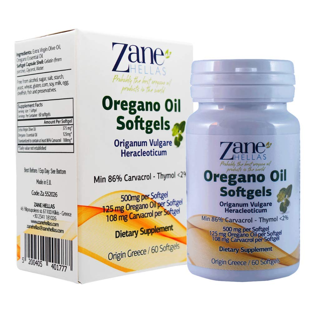Zane Hellas Oregano Oil 120 Softgels. The Highest Concentration in The World. A Softgel Contains 25% Pure Greek Wild Essential Oil of Oregano and Provides 108 mg Carvacrol.