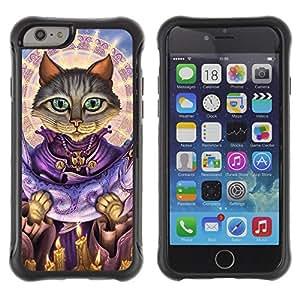 ZETECH CASES / Apple Iphone 6 PLUS 5.5 / SAINT CAT SALMON GOD ART GREY GREEN EYES / santo el gato el salmón dios arte gris verde ojos / Robusto Caso Carcaso Billetera Shell Armor Funda Case C