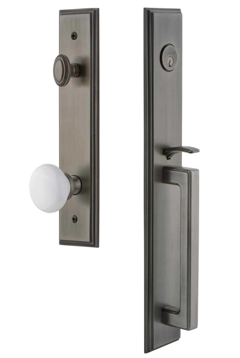 Grandeur 845235 Hardware Carre One-Piece Handleset with D Grip and Hyde Park Knob in Satin Nickel Single Cylinder Lock Backset Size-2.375