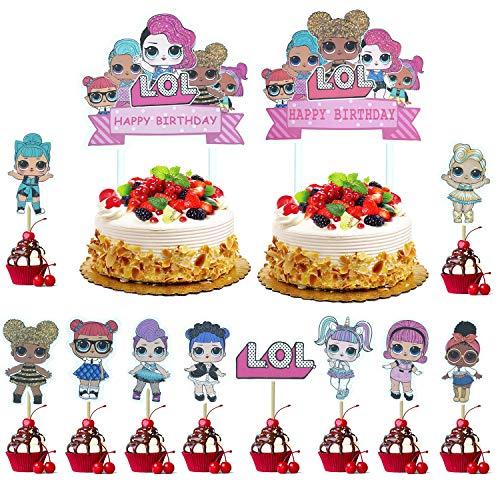 KRUCE 22 Piezas LOL Cake Topper, LOL Happy Birthday Party Supplies Cupcake Topper para decoraci ón de niños