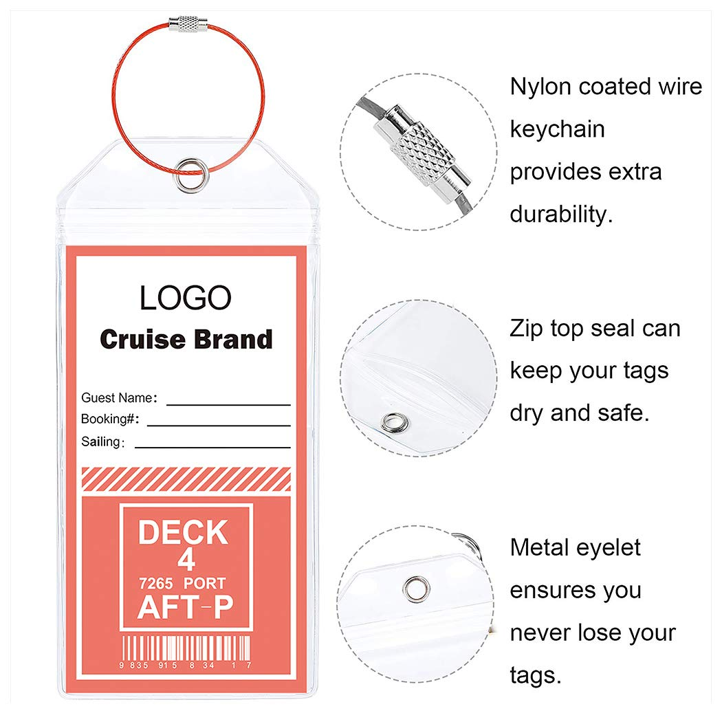 Cruise Tags 12 Pack Both Sizes (Wide and Narrow) Luggage Etag Holders Zip Seal Steel Loops by Jeatonge (Image #3)