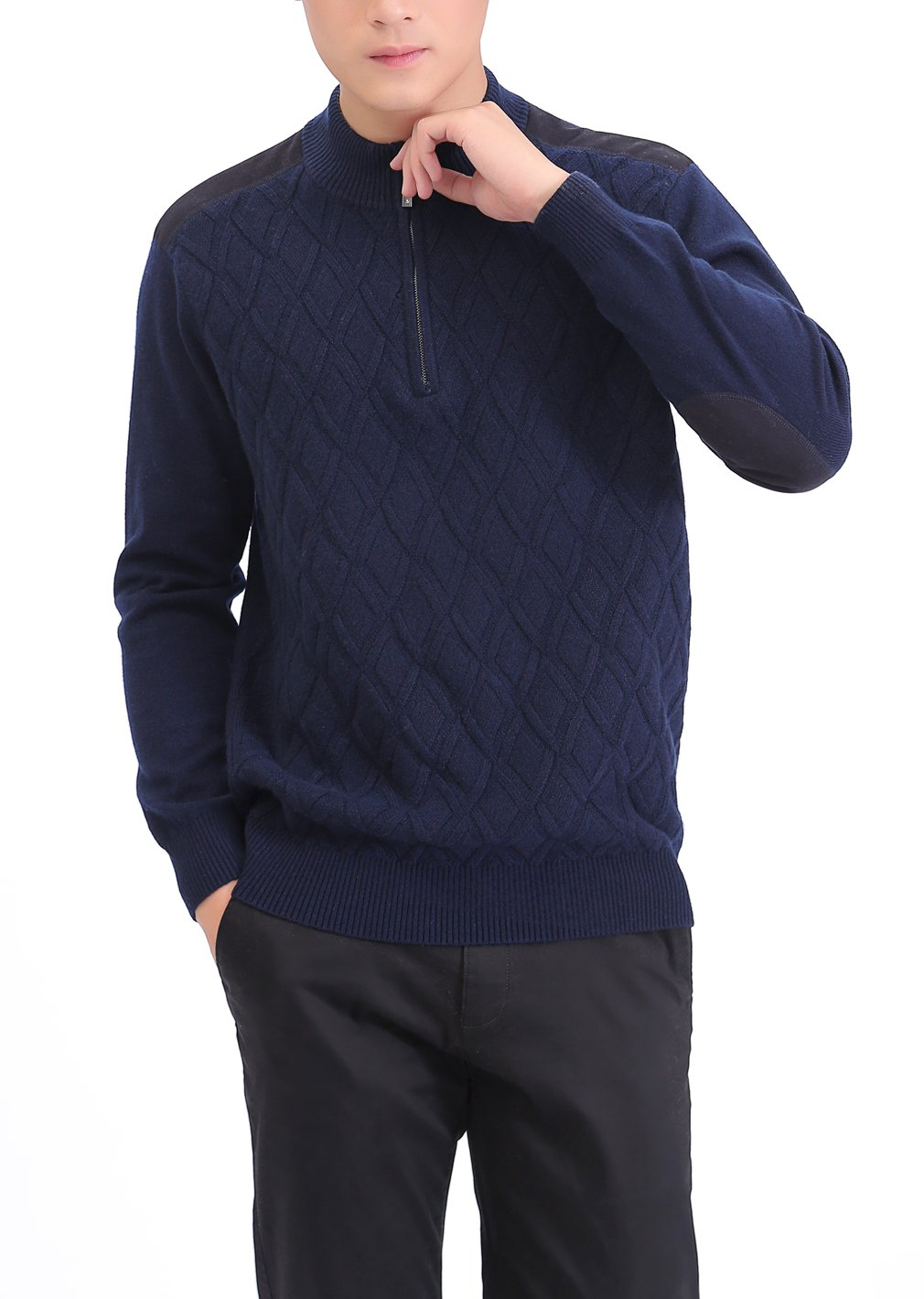 METERDE Men's Knitwear Half Zip Business Casual Cashmere Pullover Sweater X by Cashmere DX (Image #2)